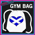 SCOTLAND HEART FLAG HEART LOVE GYM DRAWSTRING WHITE GYMSAC BAG